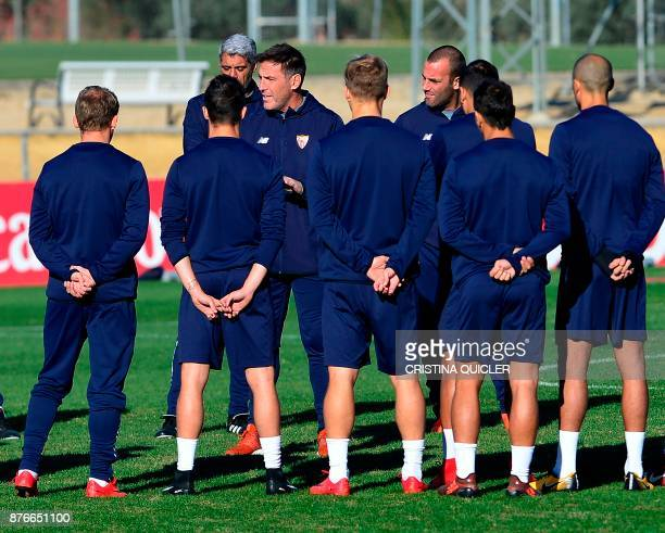 Sevilla's Argentinian coach Eduardo Berizzo gives instructions to the players during a training session at the Ciudad Deportiva in Sevilla on...