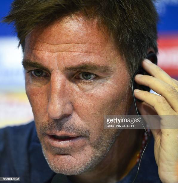 Sevilla's Argentinian coach Eduardo Berizzo holds a press conference at the Ramon Sanchez Pizjuan Stadium in Sevilla on October 31 2017 on the eve of...