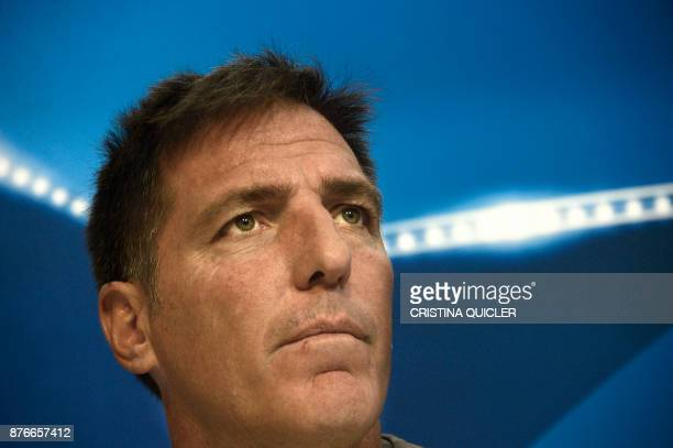 Sevilla's Argentinian coach Eduardo Berizzo looks on during a press conference at Ramon Sanchez Pizjuan stadium in Sevilla on November 20 2017 on the...