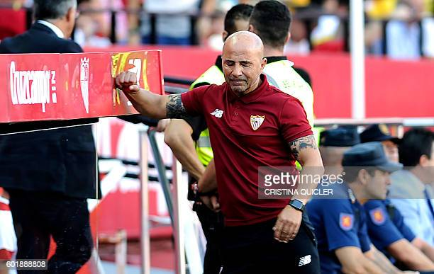 Sevilla's Argentinian coach Jorge Sampaoli reacts after Sevilla missed a goal oportunity during the Spanish league football match Sevilla FC vs UD...