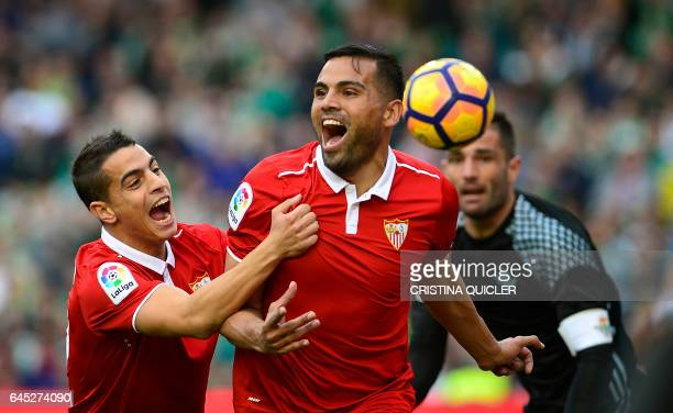 Sevilla's Argentinian defender Gabriel Mercado celebrates after scoring a goal during the Spanish league football match Real Betis vs Sevilla FC at...