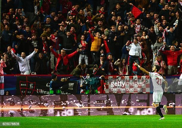 Sevilla's Argentinian defender Nicolas Pareja celebrates after scoring a goal during the UEFA Champions League football match Sevilla FC vs Juventus...