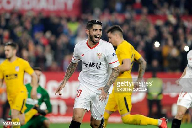 Sevilla's Argentinian midfielder Ever Banega celebrates after scoring a goal during the Spanish 'Copa del Rey' quarterfinal second leg football match...