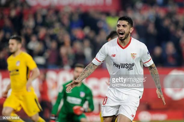 Sevilla's Argentinian midfielder Ever Banega celebrates after scoring a goal during the Spanish 'Copa del Rey' quarterfinal second leg football match...