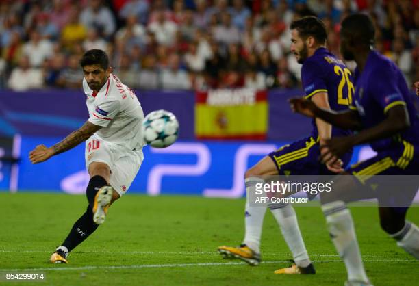 Sevilla's Argentinian midfielder Ever Banega kicks the ball during the UEFA Champions League Group E football match Sevilla FC vs NK Maribor at the...