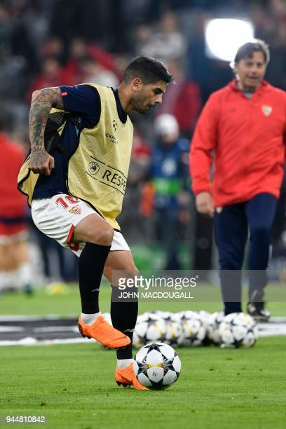 Sevilla's Argentinian midfielder Ever Banega warms up on the ball prior to the UEFA Champions League quarterfinal second leg football match between...