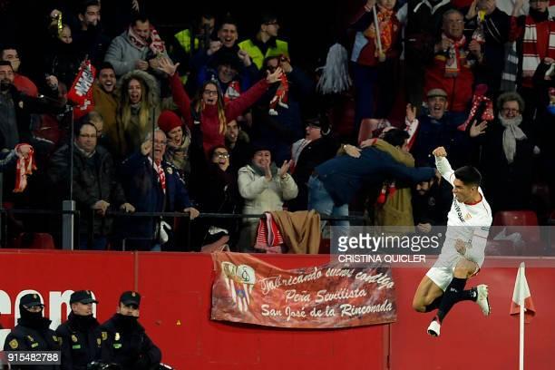 Sevilla's Argentinian midfielder Joaquin Correa celebrates after scoring a goal during the Spanish 'Copa del Rey' second leg semifinal football match...
