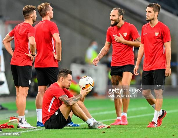 Sevilla's Argentinian midfielder Lucas Ocampos eyes the ball during a training session on the eve of the UEFA Europa League final football match...