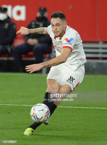 Sevilla's Argentinian midfielder Lucas Ocampos kicks the ball during the Spanish league football match between Sevilla FC and Getafe CF at the Ramon...
