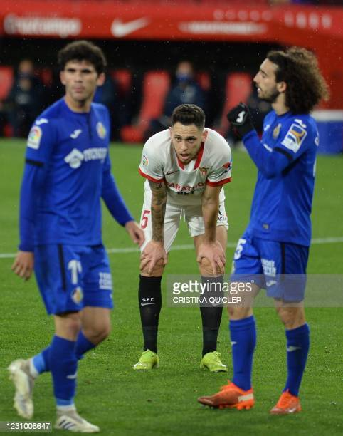 Sevilla's Argentinian midfielder Lucas Ocampos looks on during the Spanish league football match between Sevilla FC and Getafe CF at the Ramon...