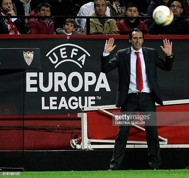 Sevilla's coach Unai Emery gestures during the UEFA Europa League round of 16 second leg football match between Sevilla FC vs FC Basel 1893 at the...