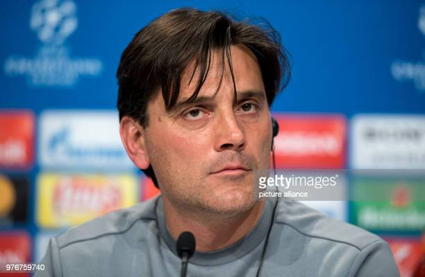 FC Sevilla's coach Vincenzo Montella attends a press conference ahead of the UEFA Champions League soccer match between FC Sevilla and FC Bayern...
