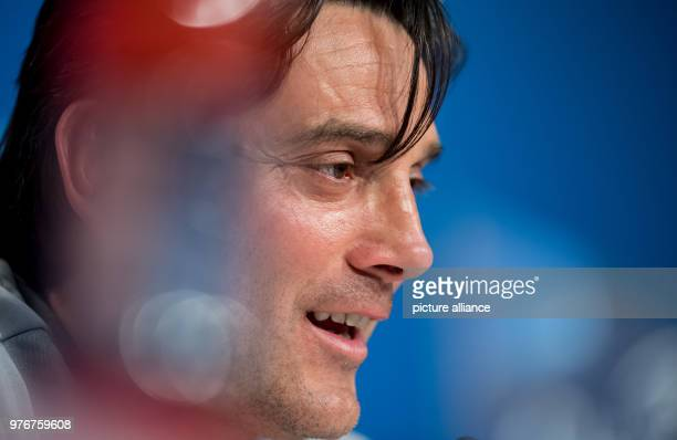 FC Sevilla's coach Vincenzo Montella speaks during a press conference ahead of the UEFA Champions League soccer match between FC Sevilla and FC...
