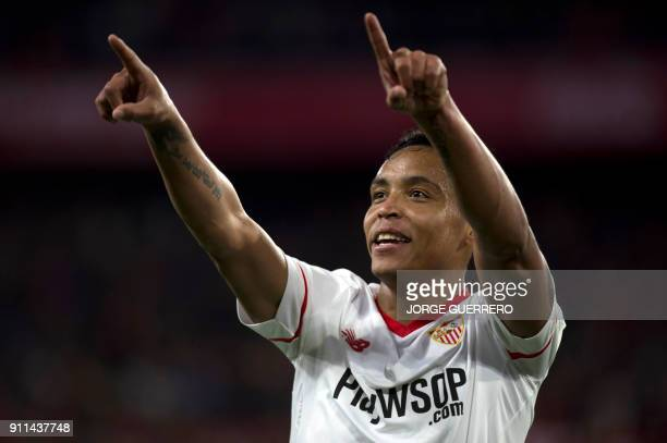 Sevilla's Colombian forward Luis Muriel celebrates a goal during the Spanish league football match between Sevilla FC and Getafe CF at the Ramon...
