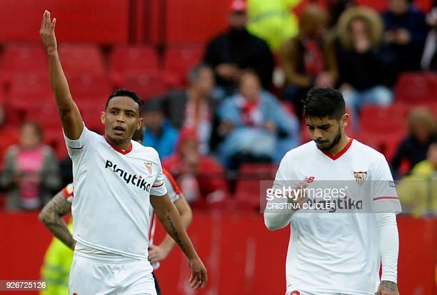 Sevilla's Colombian forward Luis Muriel celebrates scoring a goal during the Spanish league football match between Sevilla FC and Athletic Club...