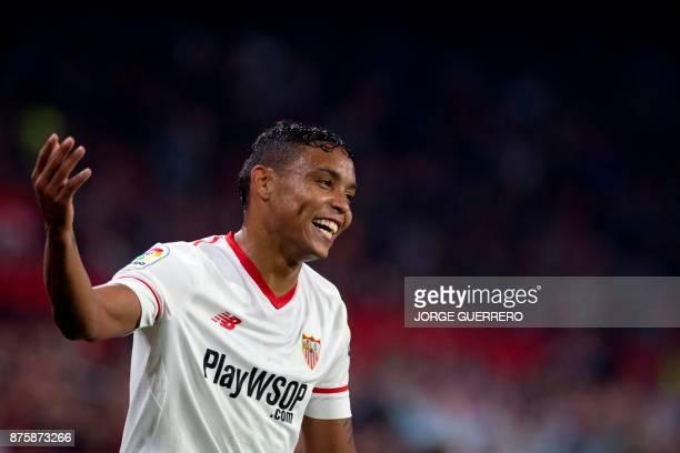 Sevilla's Colombian forward Luis Muriel smiles during the Spanish league football match Sevilla vs Celta Vigo at the Ramon Sanchez Pizjuan stadium in...