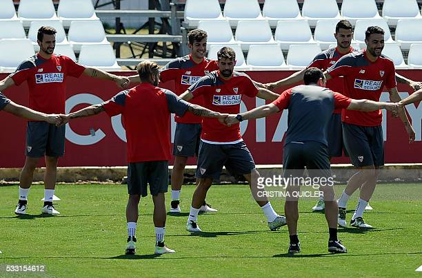 Sevilla's defender Coke exercices during a training session at Ciudad Deportiva in Sevilla on May 21 2016 on the eve of their Spanish Copa del Rey...