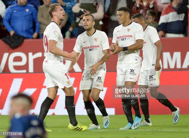 Sevilla's Dutch forward Luuk De Jong celebrates after scoring a goal during the Spanish league football match Sevilla FC vs Levante UD at the Ramon...