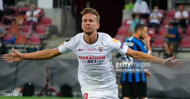 Sevilla's Dutch forward Luuk De Jong celebrates after scoring the 1-1 goal during the UEFA Europa League final football match Sevilla v Inter Milan...