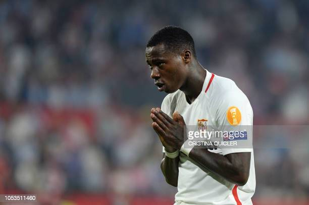 Sevilla's Dutch midfielder Quincy Promes celebrates after scoring a goal during the UEFA Europa League football match Sevilla against Akhisar at...