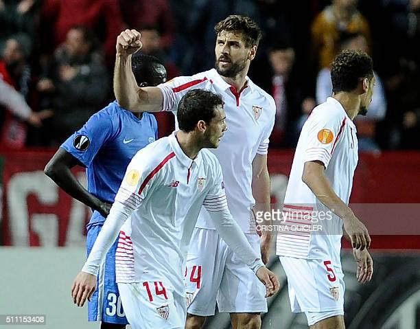 Sevilla's forward Fernando Llorente celebrates a goal during the UEFA Europa League Round of 32 first leg football match Sevilla FC vs Molde FK at...