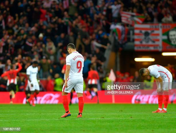 Sevilla's French forward Ben Yedder gestures after Athletic Bilbao's Spanish forward Inaki Williams scored his team's second goal during the Spanish...