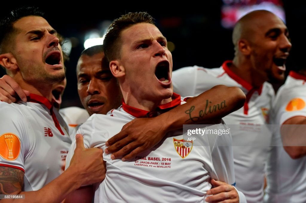Sevilla's French forward Kevin Gameiro celebrates after scoring a goal during the UEFA Europa League final football match between Liverpool FC and Sevilla FC at the St Jakob-Park stadium in Basel, on May 18, 2016.