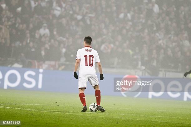 Sevilla's French forward Samir Nasri in action during the UEFA Champions League Group H football match between Olympique Lyonnais and FC Sevilla at...