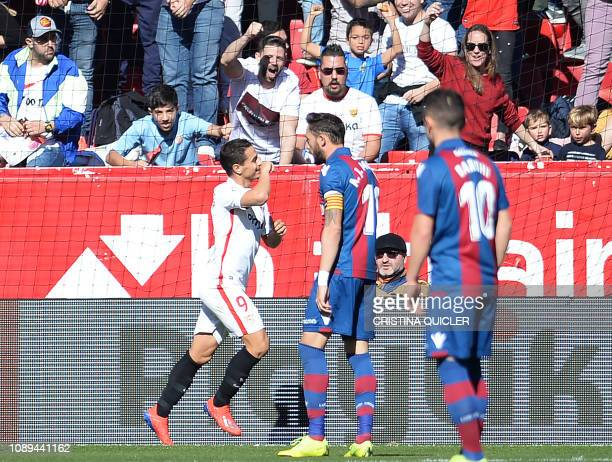 Sevilla's French forward Wissam Ben Yedder celebrates a goal during the Spanish league football match between Sevilla FC and Levante UD at the Ramon...