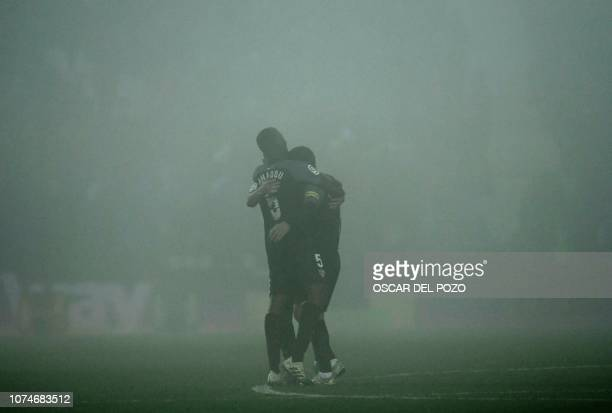 Sevilla's French forward Wissam Ben Yedder celebrates a goal with Sevilla's French defender Ibrahim Amadou during the Spanish League football match...