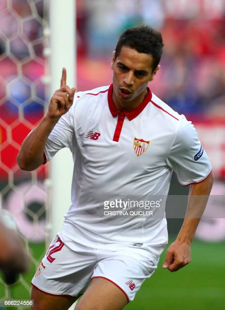 Sevilla's French forward Wissam Ben Yedder celebrates after scoring a goal during the Spanish league football match Sevilla FC vs RC Deportivo de la...