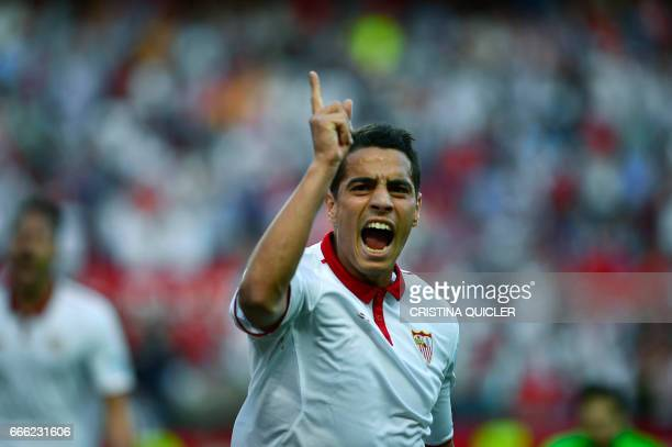 Sevilla's French forward Wissam Ben Yedder celebrates after scoring a goal during the Spanish league football match Sevilla FC vs RC Deportivo de la...
