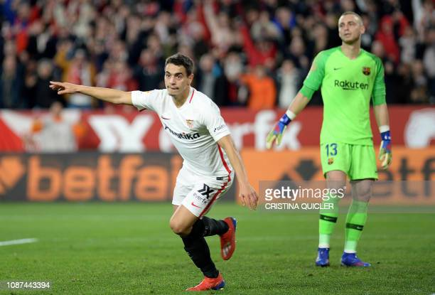 Sevilla's French forward Wissam Ben Yedder celebrates after scoring his team's second goal during the Spanish Copa del Rey quarterfinal first leg...