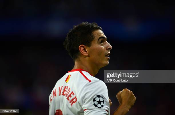 Sevilla's French forward Wissam Ben Yedder celebrates after scoring during the UEFA Champions League Group E football match Sevilla FC vs NK Maribor...