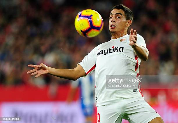 Sevilla's French forward Wissam Ben Yedder controls the ball during the Spanish league football match between Sevilla FC and RCD Espanyol at the...