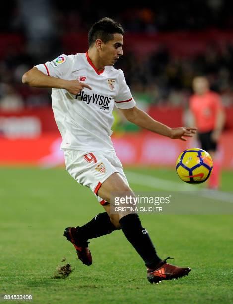 Sevilla's French forward Wissam Ben Yedder controls the ball during the Spanish league football match Sevilla FC vs RC Deportivo de la Coruna at the...