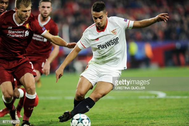 Sevilla's French forward Wissam Ben Yedder controls the ball on November 21 2017 at the Ramon Sanchez Pizjuan stadium in Sevilla during the UEFA...