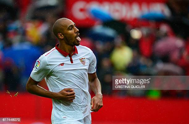 Sevilla's French midfielder Steven N'Zonzi celebrates a goal during the Spanish league football match between Sevilla FC and Club Atletico de Madrid...