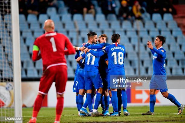 Sevilla's Israeli forward Moanes Dabour celebrates scoring his team's first goal during the UEFA Europa League group A football match between Sevilla...