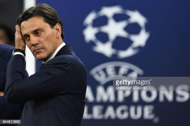 Sevilla's Italian coach Vincenzo Montella arrive prior to the UEFA Champions League quarterfinal second leg football match between FC Bayern Munich...