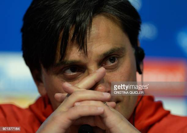 Sevilla's Italian coach Vincenzo Montella attends a press conference at the Ramon Sanchez Pizjuan stadium in Sevilla on February 20 2018 on the eve...