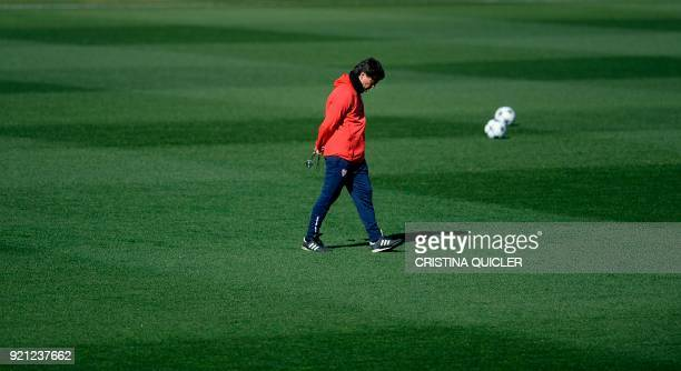 Sevilla's Italian coach Vincenzo Montella attends a training session at Ciudad Deportiva at the Ramon Sanchez Pizjuan stadium in Sevilla on February...