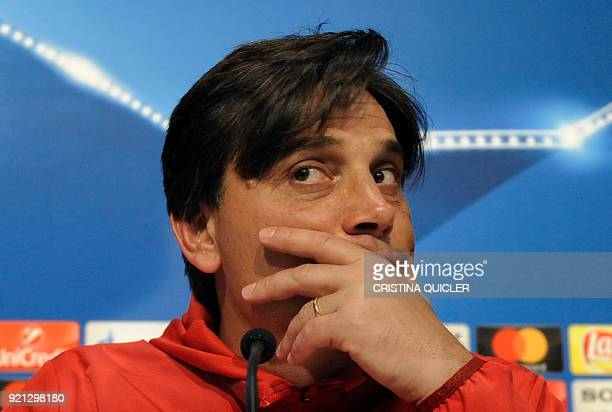 Sevilla's Italian coach Vincenzo Montella looks on during a press conference at the Ramon Sanchez Pizjuan stadium in Sevilla on February 20 2018 on...