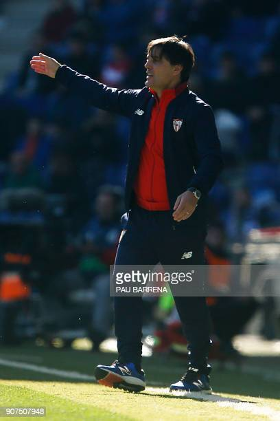 Sevilla's Italian coach Vincenzo Montella reacts during the Spanish league football match between RCD Espanyol and Sevilla FC atthe RCDE Stadium in...
