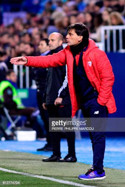 Sevilla's Italian coach Vincenzo Montella reacts during the Spanish 'Copa del Rey' first leg semifinal football match between Leganes and Sevilla FC...