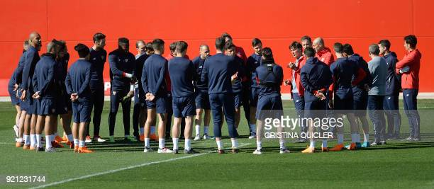 Sevilla's Italian coach Vincezo Montella gives instructions to his players during a training session at Ciudad Deportiva on the eve of the UEFA...