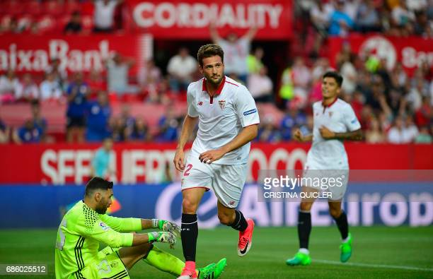 Sevilla's Italian forward Franco Vazquez celebrates after scoring a goal during the Spanish league football match Sevilla FC vs CA Osasuna at the...