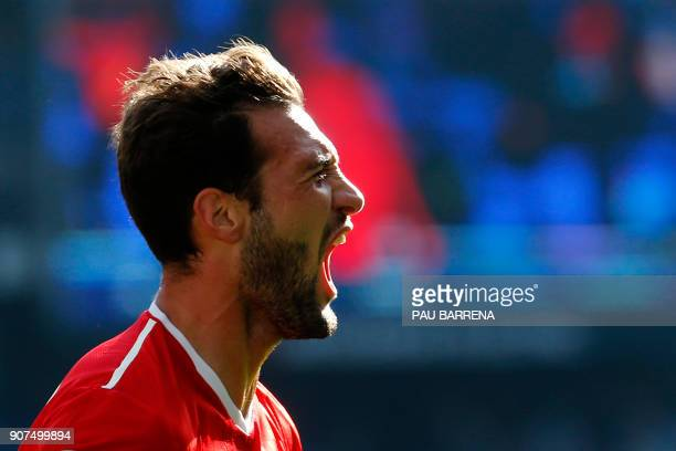Sevilla's Italian midfielder Franco Vazquez celebrates after scoring a goal during the Spanish league football match between RCD Espanyol and Sevilla...