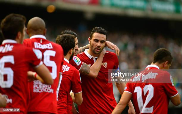 Sevilla's midfielder Iborra celebrates after scoring a goal during the Spanish league football match Real Betis vs Sevilla FC at the Benito...