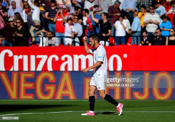 Sevilla's midfielder Pablo Sarabia celebrates a goal during the Spanish league football match Sevilla FC vs RC Deportivo de la Coruna at the Ramon...